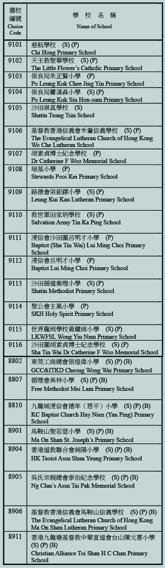 小學91校網學校名單