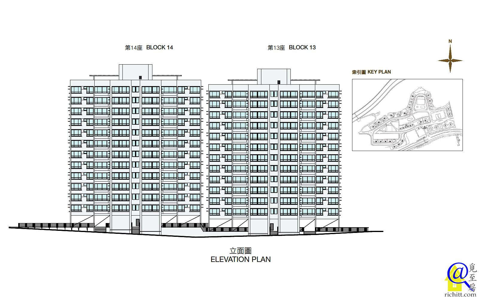 豪景花園第三期13及14座立面圖