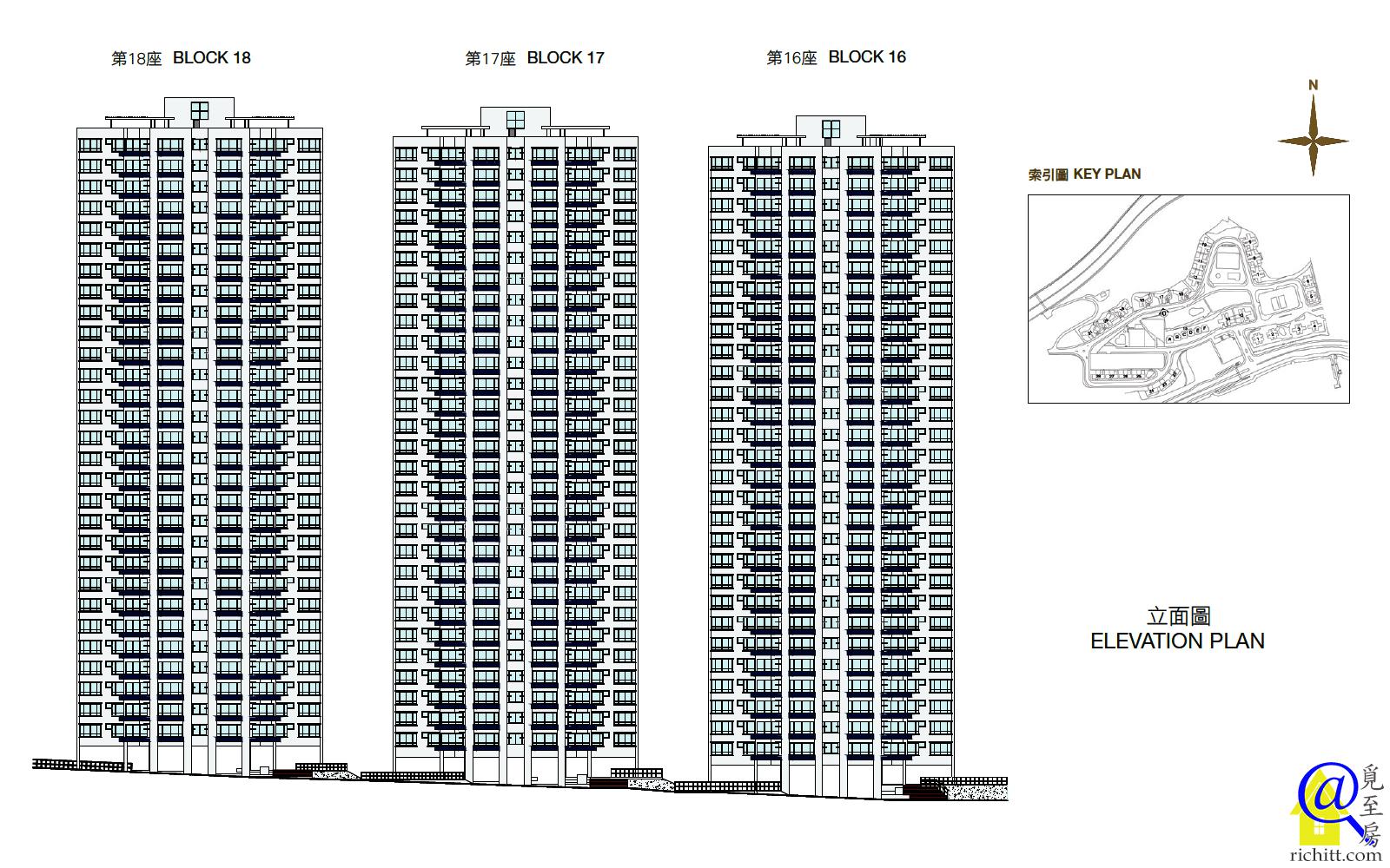 豪景花園第三期16至18座立面圖