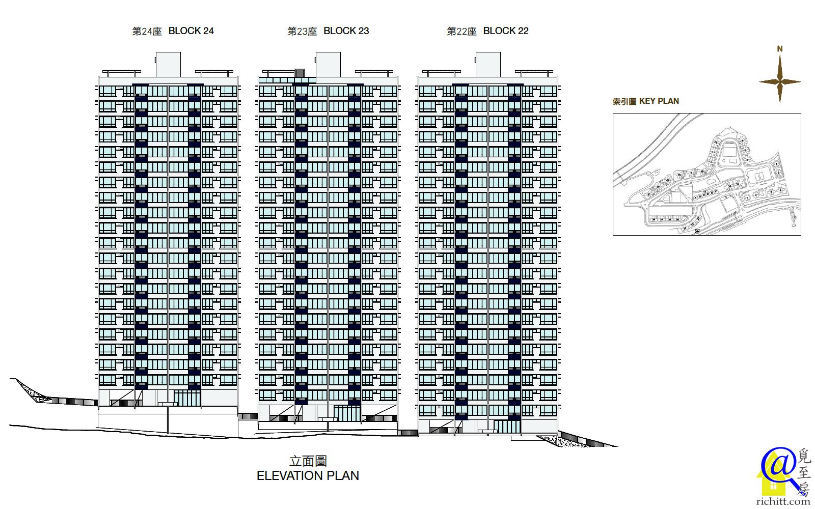 豪景花園第三期22至24座立面圖