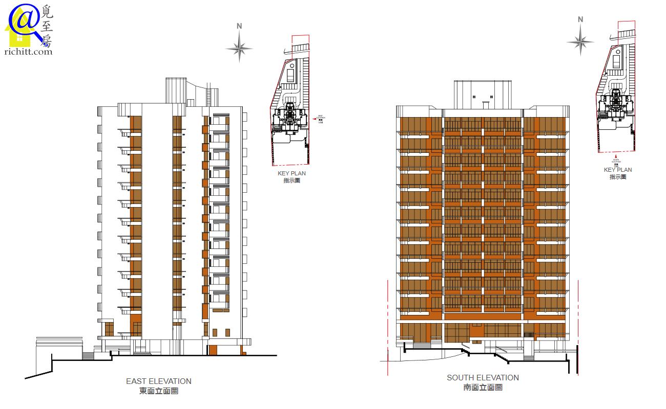 福慧大廈立面圖-東面及南面