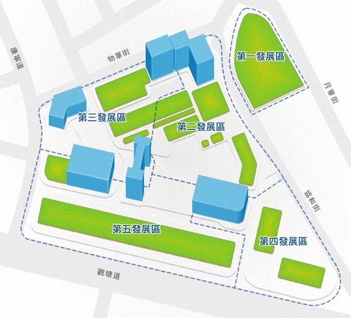 觀塘市中心分區佈局圖-引錄自市區重建局網站