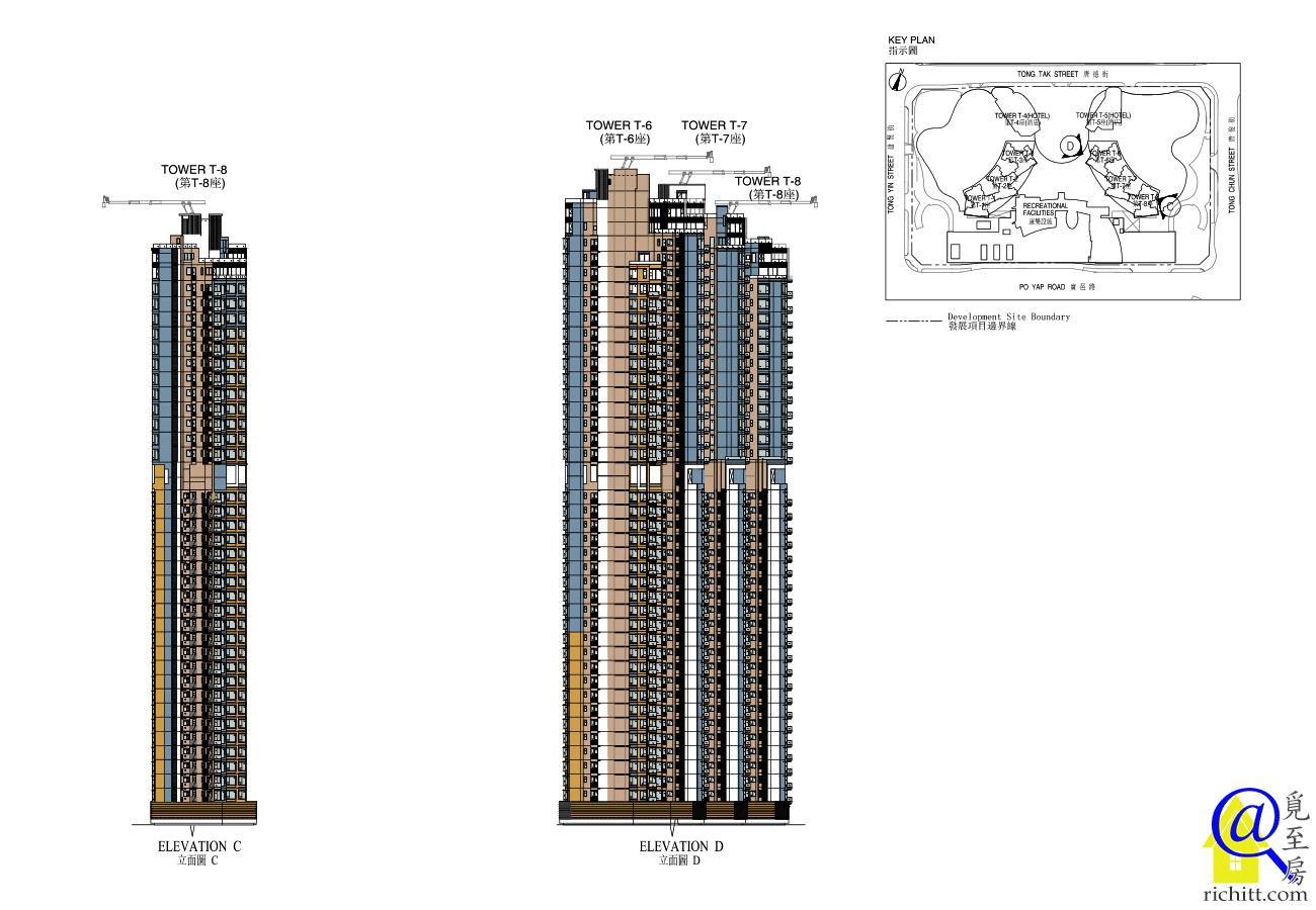 天晉立面圖6至8座立面圖C及D