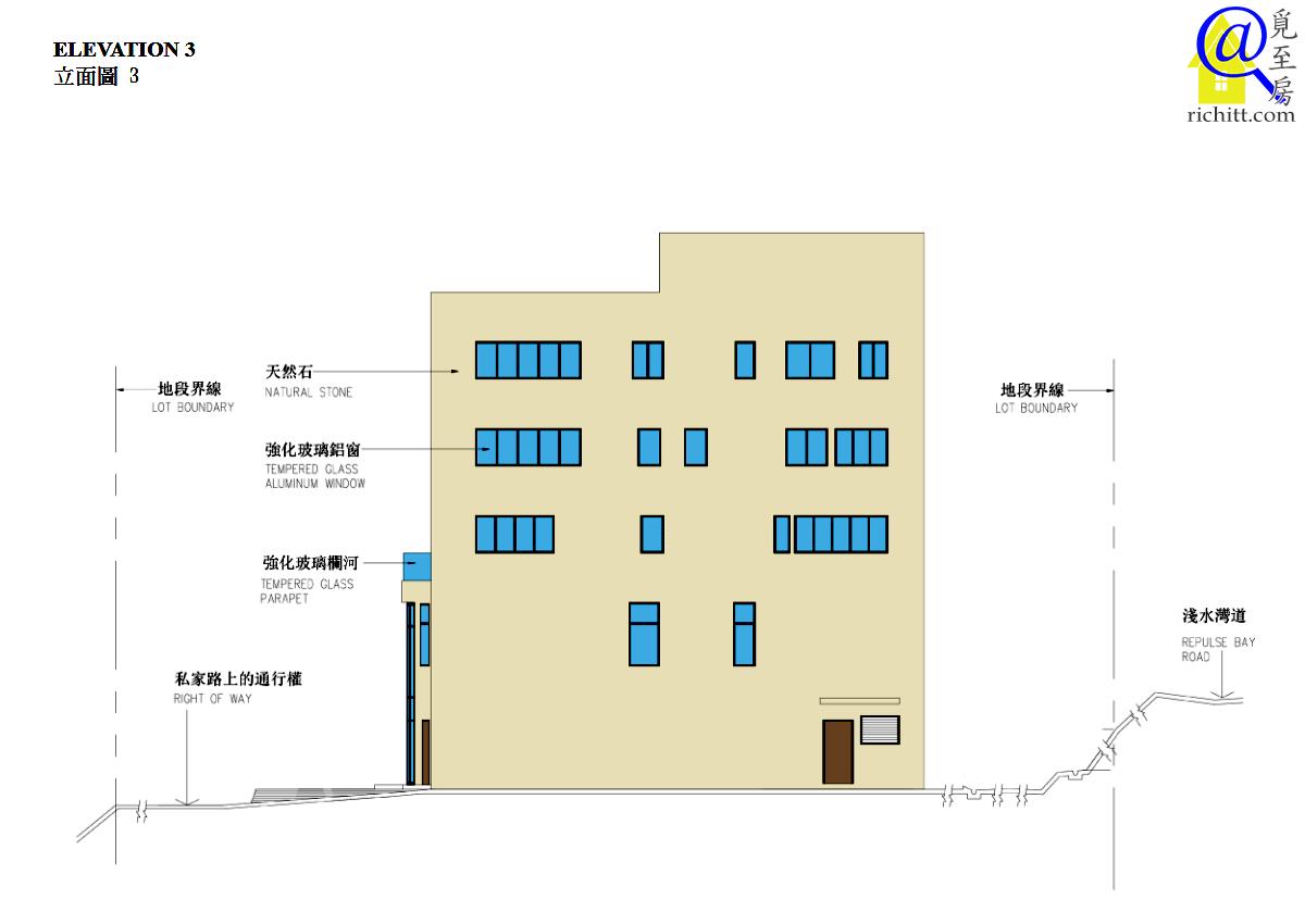 淺水灣道72號立面圖3